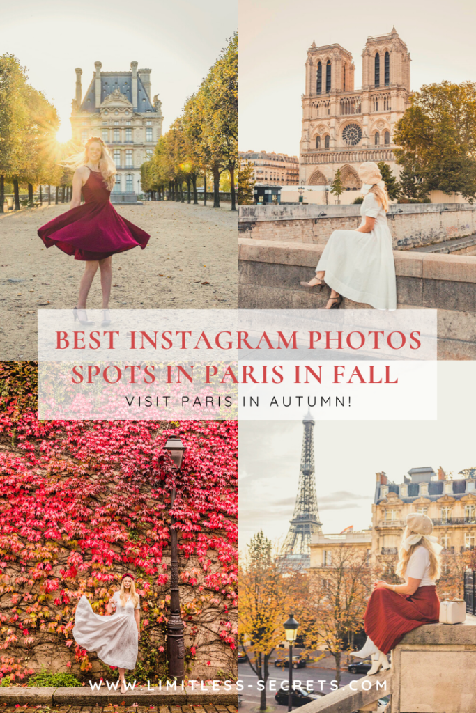 Here are the Best Instagram Photos Spots in Paris in Fall! Paris is such a beautiful city during the autumn season! The fall colors will turn the City of Love into a magical place! I have here gathered all the prettiest places to take Instagram photos if you visit Paris in Autumn. #france Paris photography | Paris travel guides | Visit Paris in fall | Paris in autumn | What to do in Paris in fall | Best things to do in Paris in fall