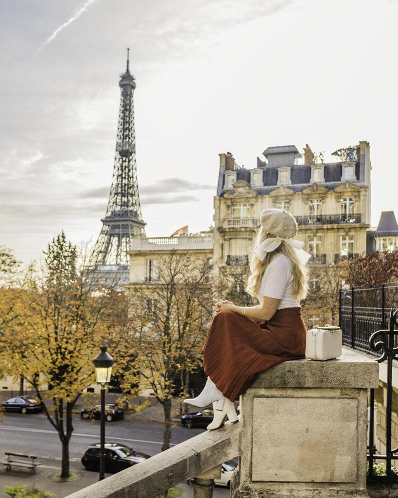 Paris in Fall - Eiffel Tower from Avenue de Camoëns