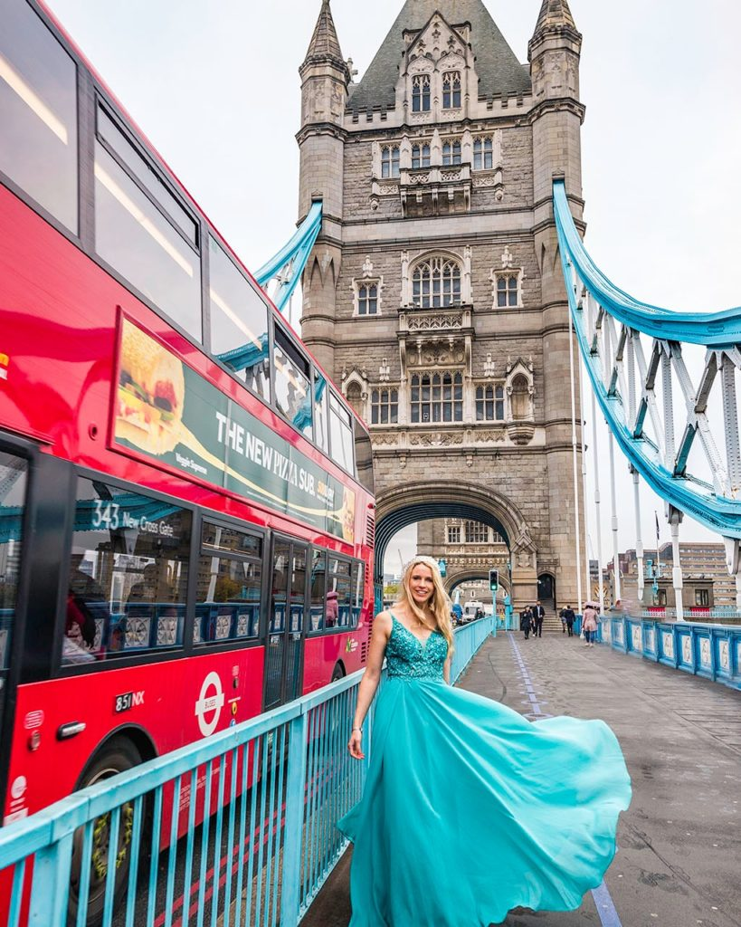 Tower bridge with red bus - London