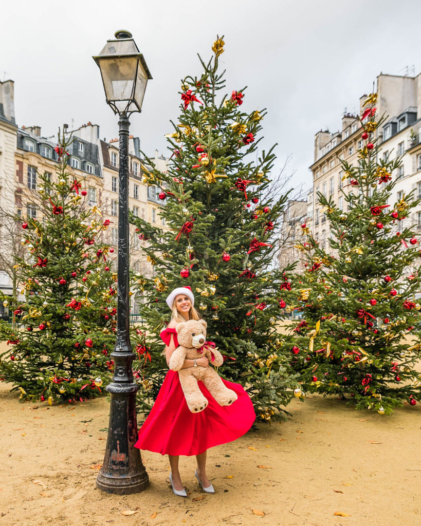 Christmas trees in Place Dauphine - Christmas in Paris