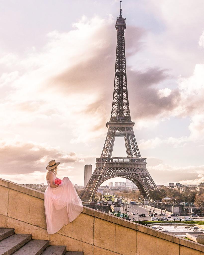 Stairs at Trocadero Eiffel Tower - Paris