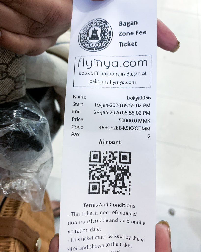 Zone Fees for Bagan, Myanmar
