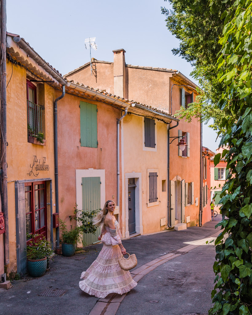 Street of the village of Roussillon in Provence, France