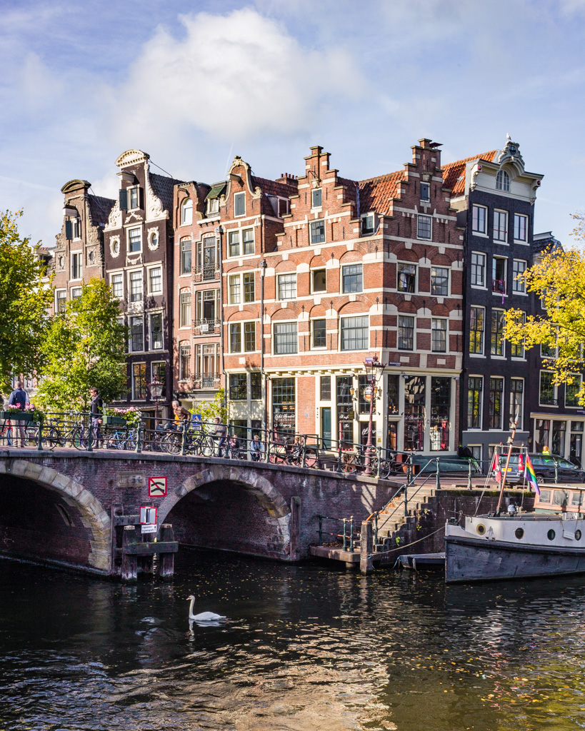 Typical Dutch houses on the canals in Amsterdam - The Netherlands