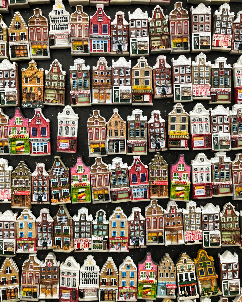 Canal houses magnets -souvenirs at the Flower Market Amsterdam - the Netherlands