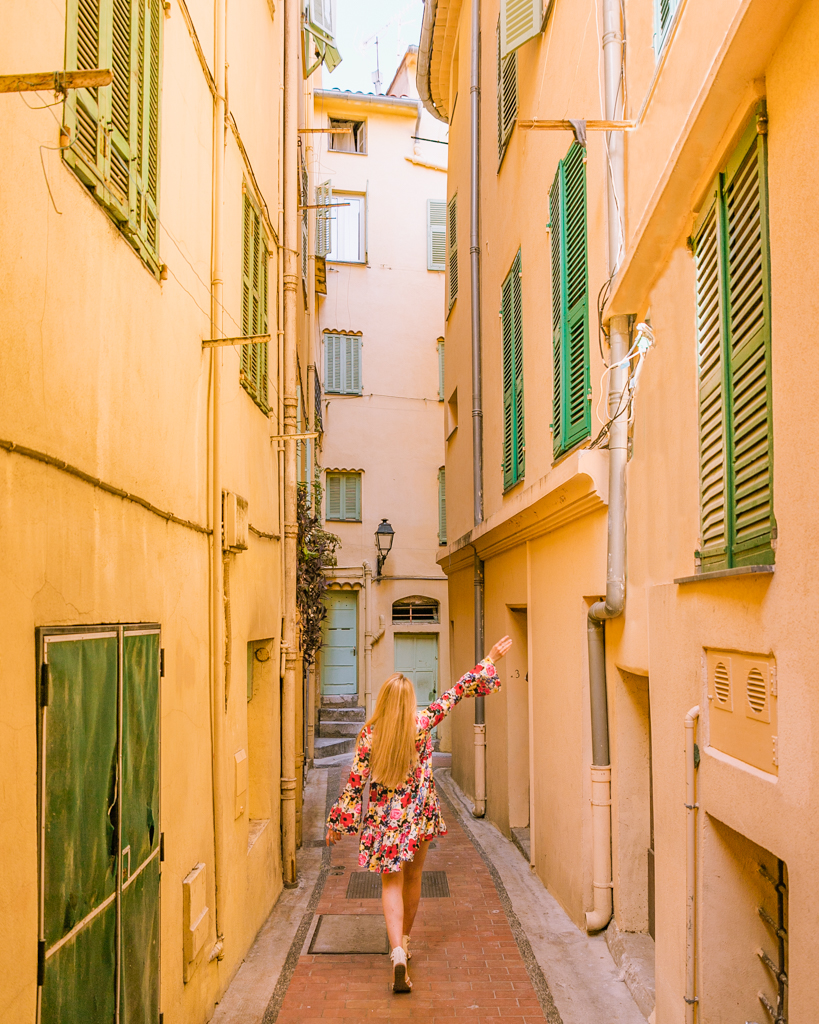 Street in the Old Town of Menton - French Riviera