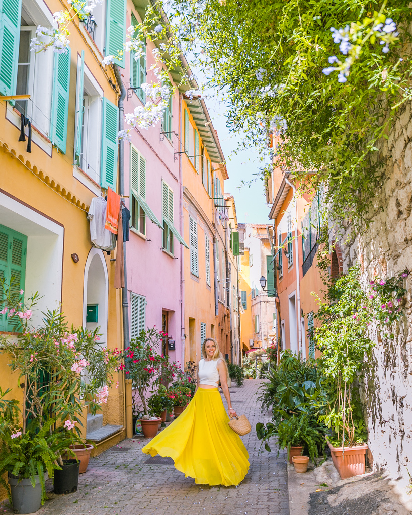 Pastel street in Villefranche-sur-Mer - French Riviera