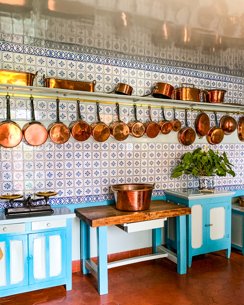 Blue kitchen inside Monet's house in Giverny