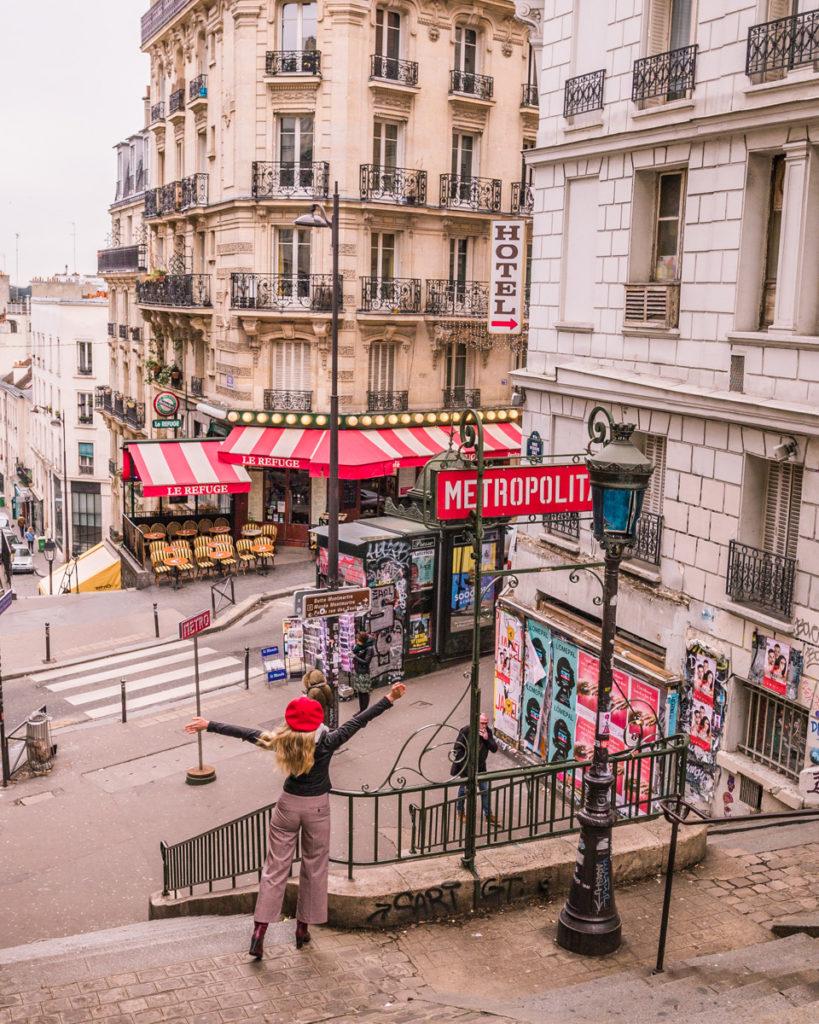 Metro Station Lamarck-Caulaincourt in Montmartre - Paris